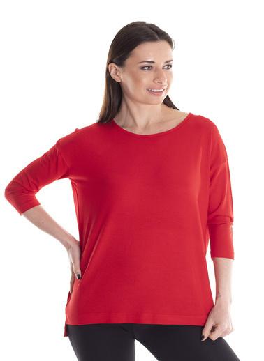 Stamina Bisiklet Yaka Düşük Kol Bluz Kırmızı